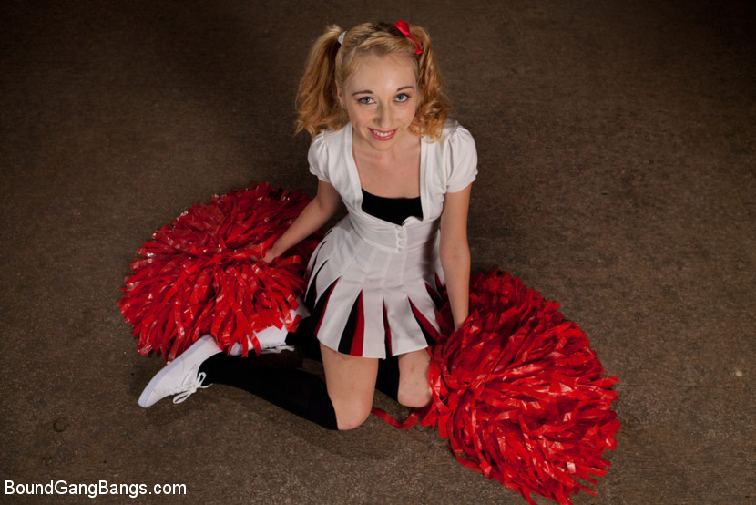 tiny petite cheerleader gets blowbanged and anally invaded by a group of coaches #4