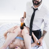 Old man penetrates young girl and pushes her beer bottle into the rectum picture 15