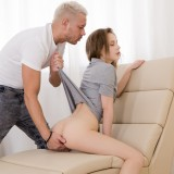 submissive student girl feeling a bit of pain while her tighty arsehole is getting knocked picture 5